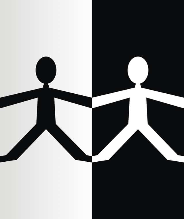 白黒が反転している二人のピクトグラム