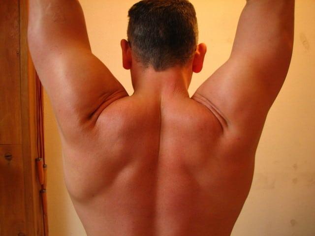 鍛えている男性の背中