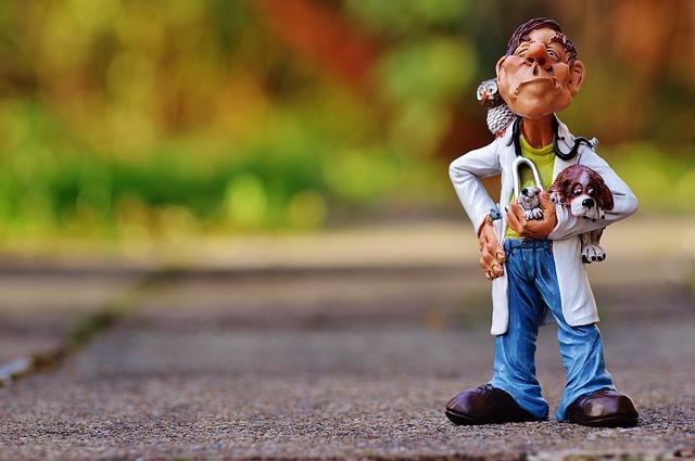 路上に置かれた犬を抱いた獣医の人形