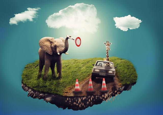 象と車の運転をするキリンのシュールなイラスト