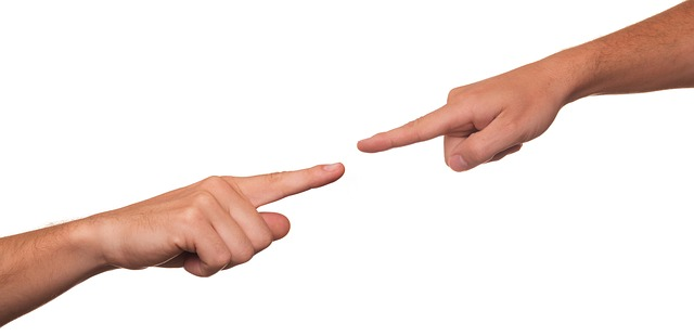 指と指が合わさるポイント