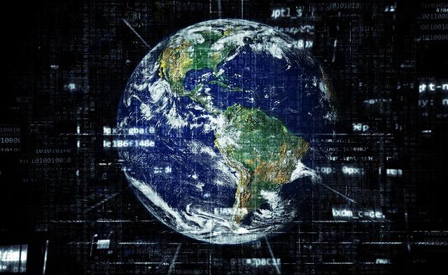 デジタル装飾された地球のイラスト