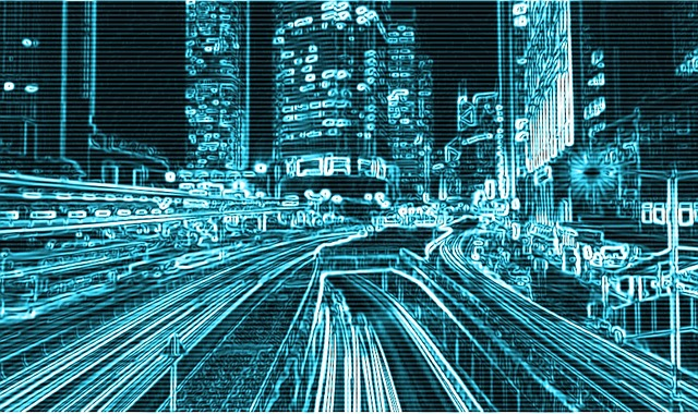 高速道路やビル群のデジタル処理した画像