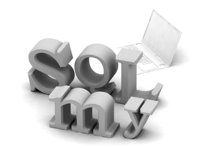ノートパソコンとmySQLのイラスト