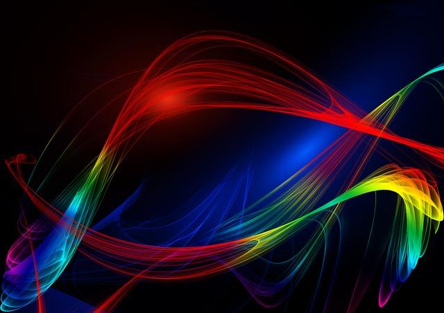 カラフルな光の曲線