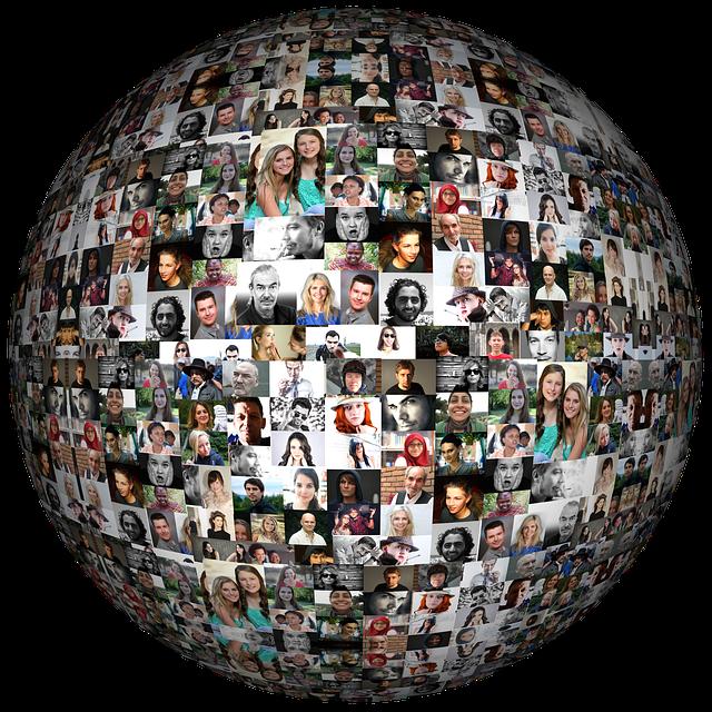 球体に貼られた世界中の人の顔