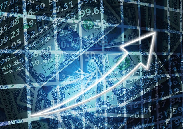 右肩上がりで経済が伸びている画像
