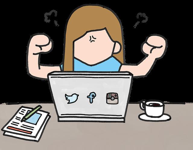 ノートパソコンに対して怒っている女性のイラスト