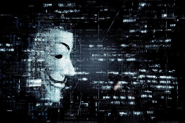 デジタル信号の中ハッカーの様なマスクの横顔