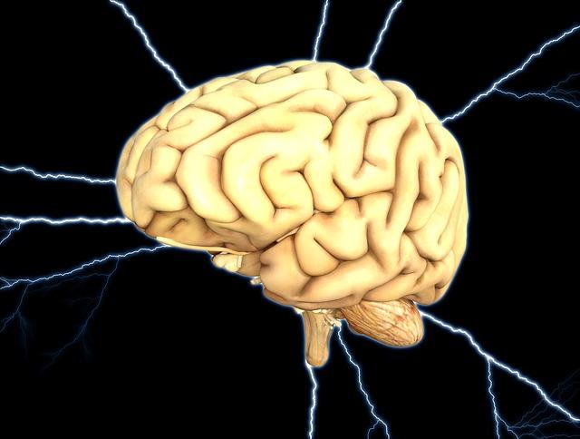 脳に電気が走っているイラスト