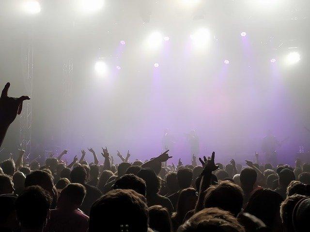 大勢のファンがひしめき合うコンサート会場