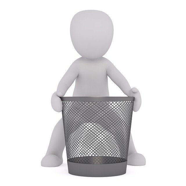 ゴミ箱を持つ人のピクトグラム