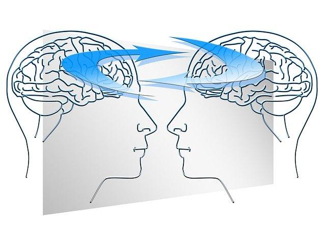 二人が向き合い脳の情報交換しているイラスト