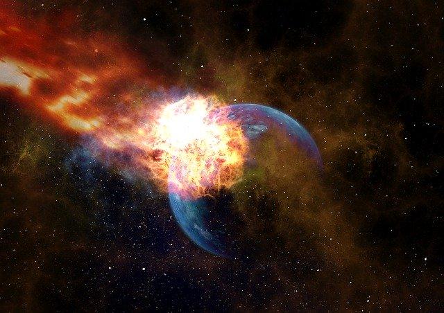 地球に隕石が衝突する衝撃