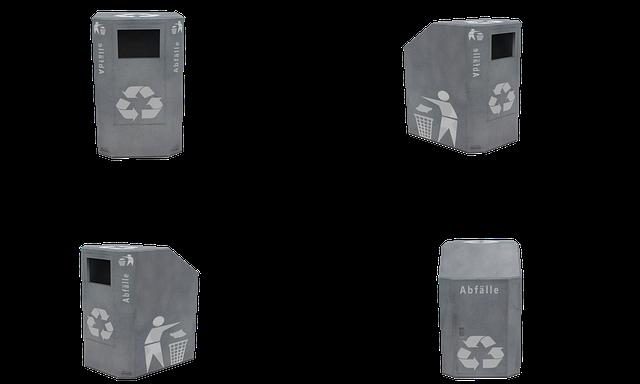 リサイクル用のゴミ箱4つ