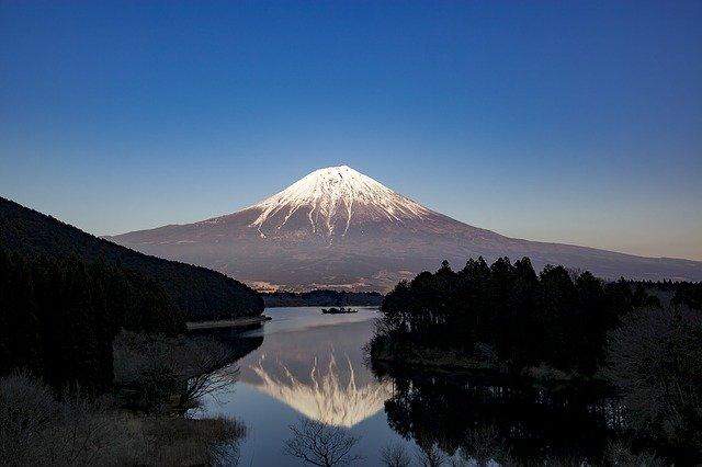 湖に逆さまに写った富士山