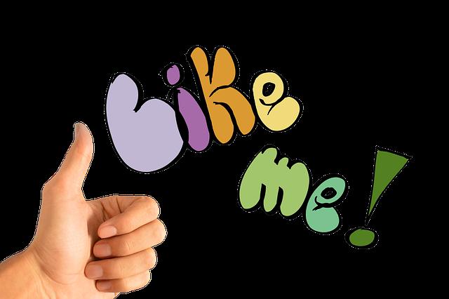 Like Me!の文字と親指と立てた手